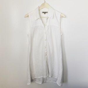 FLAX white linen sleeveless top size small